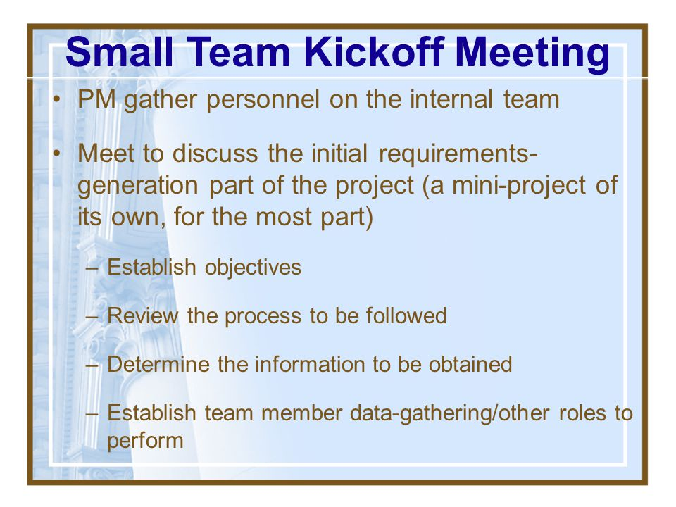 Small Team Kickoff Meeting