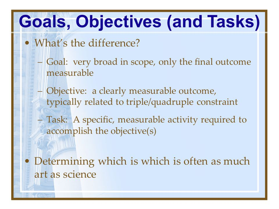 Goals, Objectives (and Tasks)