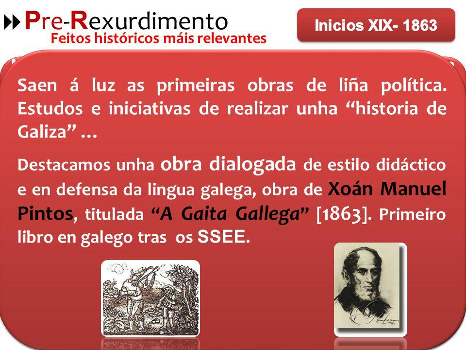 Pre-Rexurdimento Inicios XIX- 1863. Feitos históricos máis relevantes.