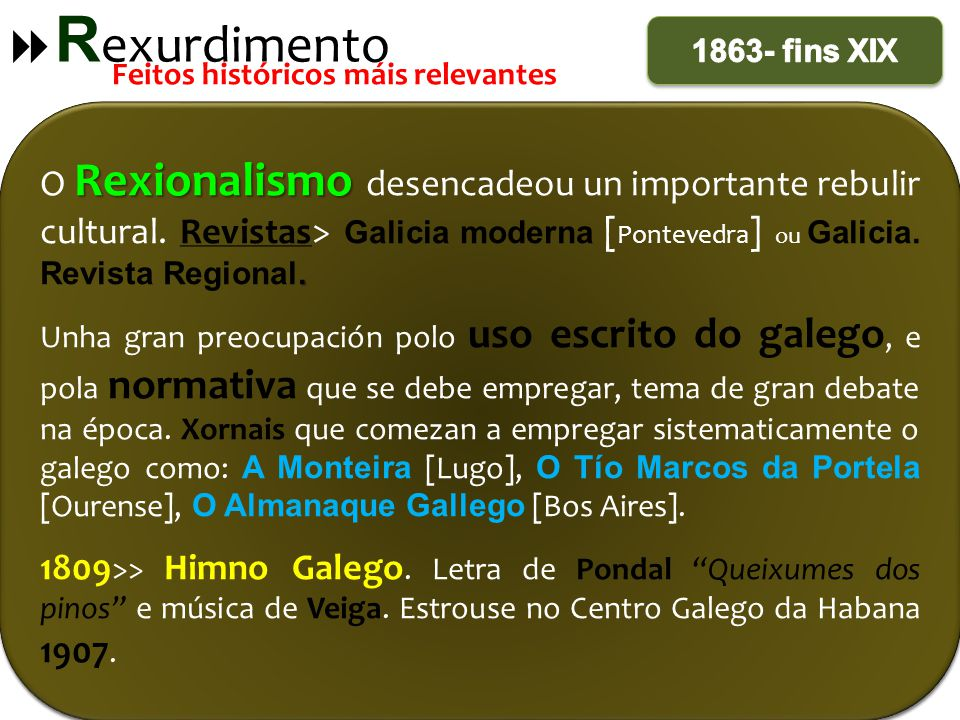 Rexurdimento 1863- fins XIX. Feitos históricos máis relevantes.