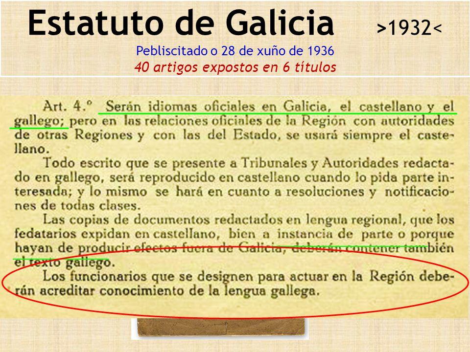 Estatuto de Galicia >1932< Pebliscitado o 28 de xuño de 1936 40 artigos expostos en 6 títulos