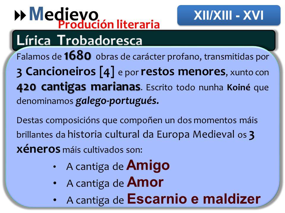 Medievo Lírica Trobadoresca XII/XIII - XVI Produción literaria
