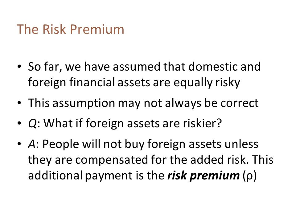 The Risk Premium So far, we have assumed that domestic and foreign financial assets are equally risky.