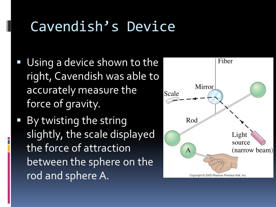 Cavendish's Device Using a device shown to the right, Cavendish was able to accurately measure the force of gravity.