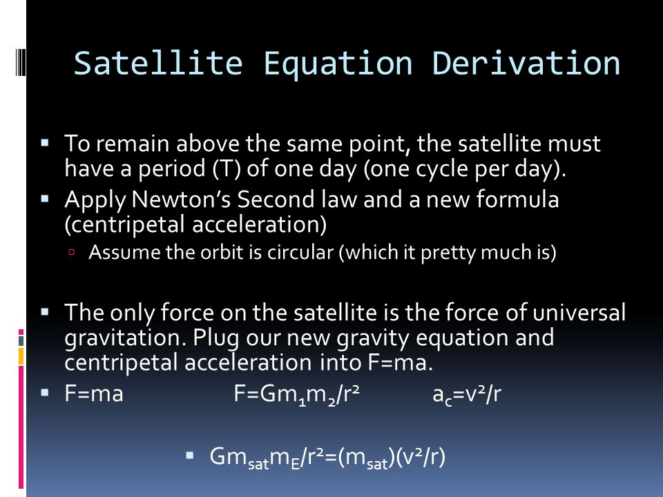 Satellite Equation Derivation