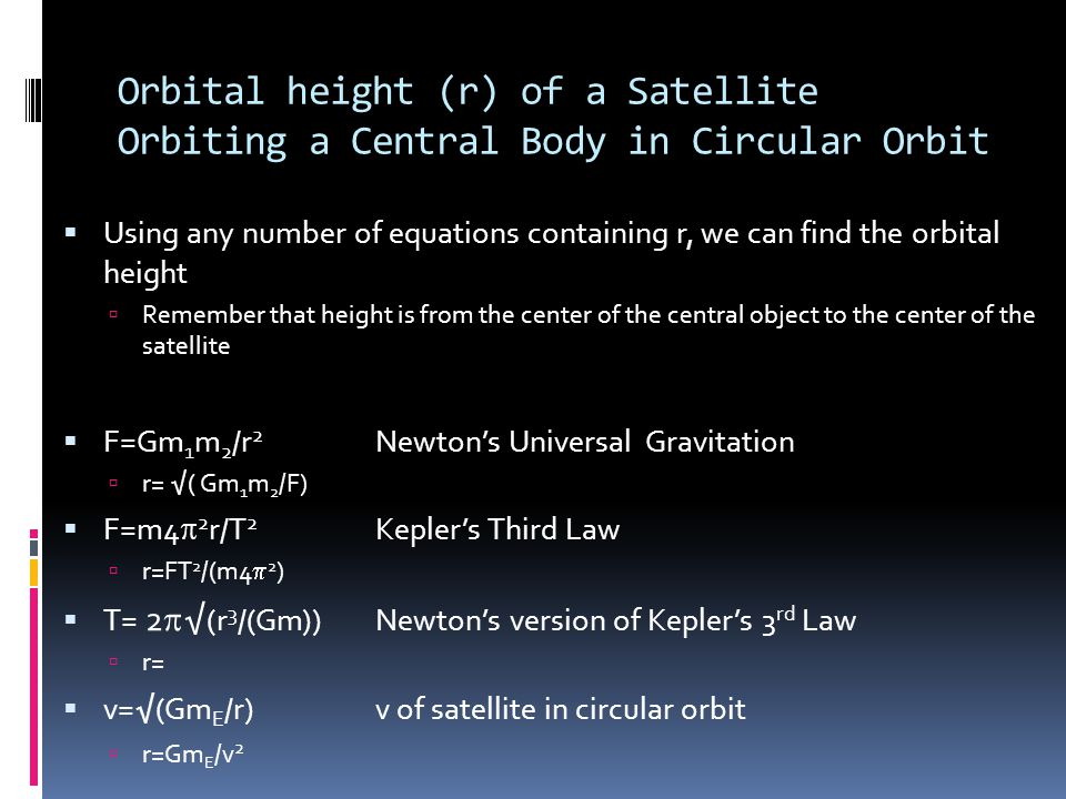Orbital height (r) of a Satellite Orbiting a Central Body in Circular Orbit