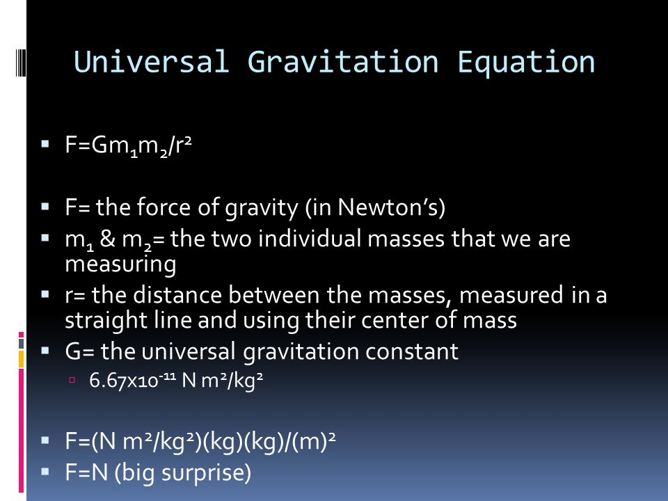 Universal Gravitation Equation