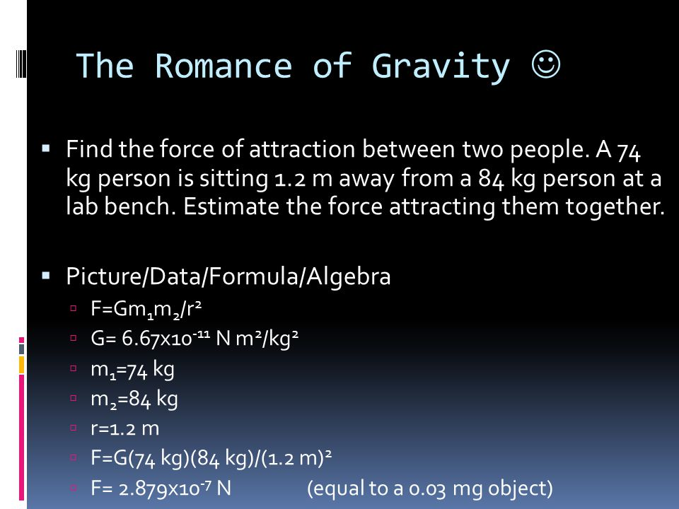 The Romance of Gravity 