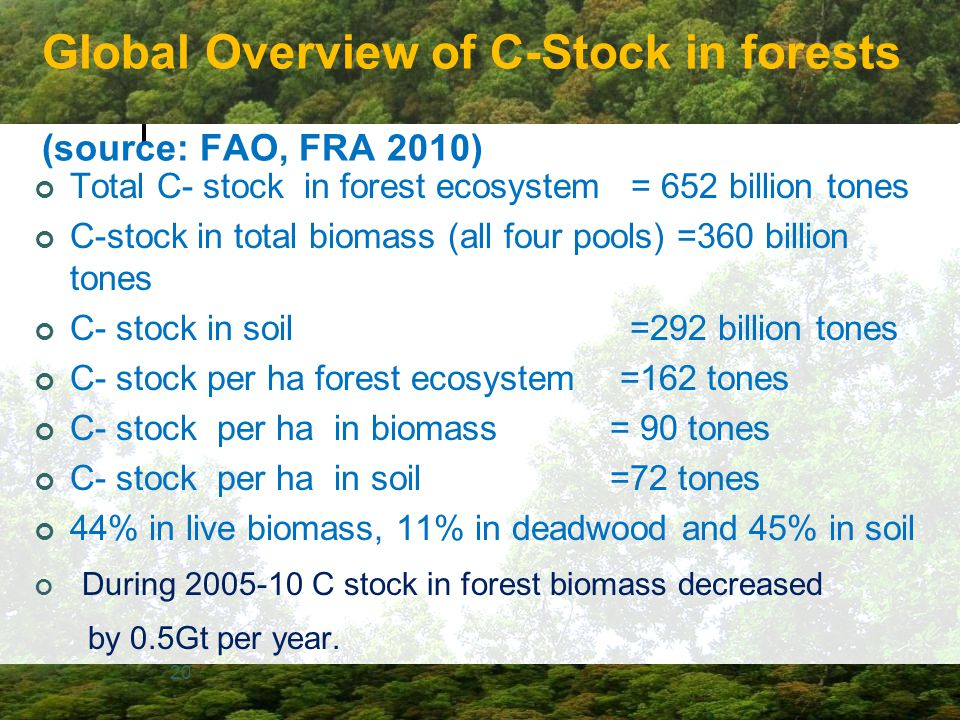 Global Overview of C-Stock in forests (source: FAO, FRA 2010)