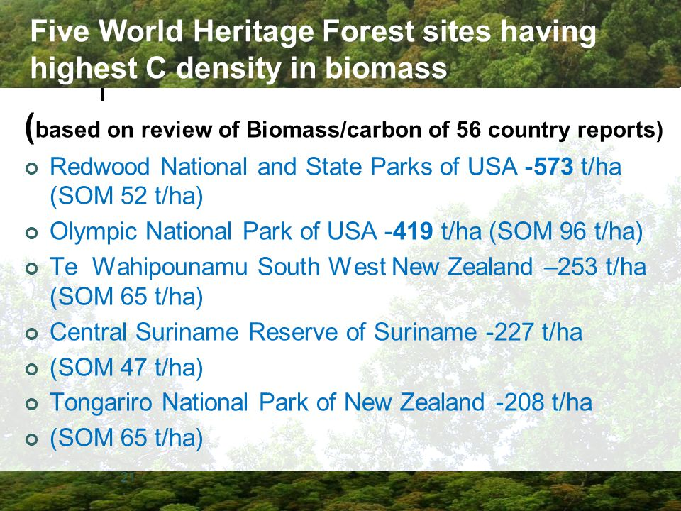 Five World Heritage Forest sites having highest C density in biomass
