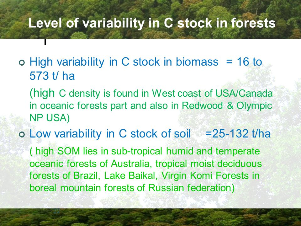 Level of variability in C stock in forests