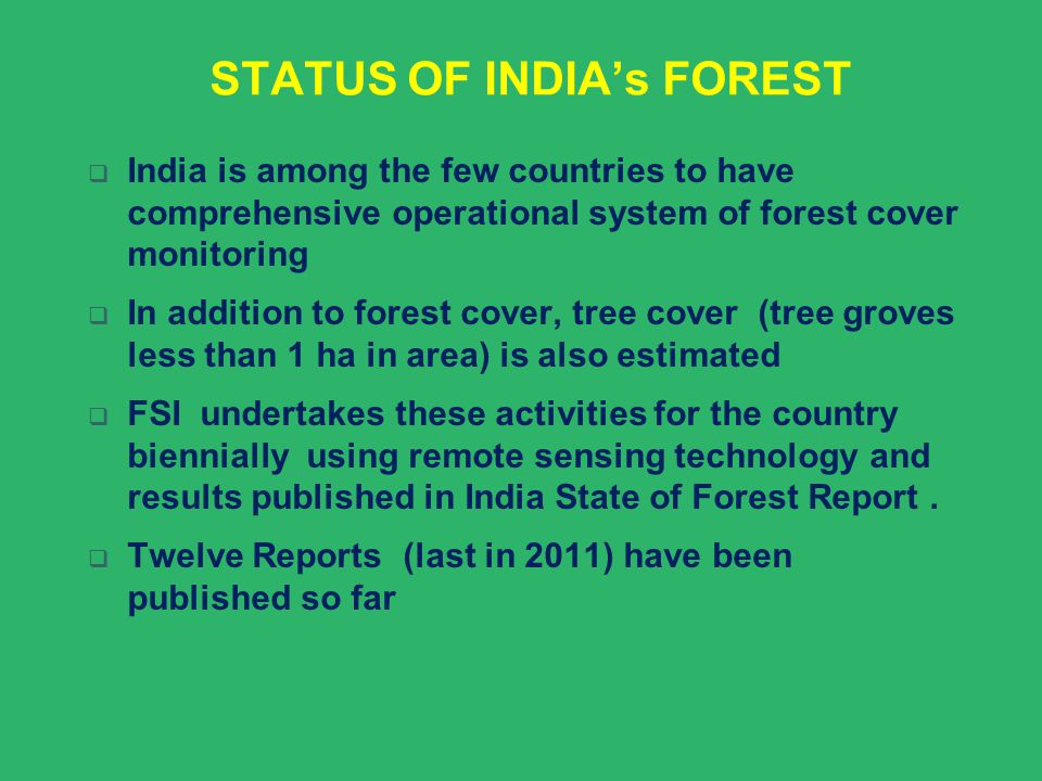 STATUS OF INDIA's FOREST