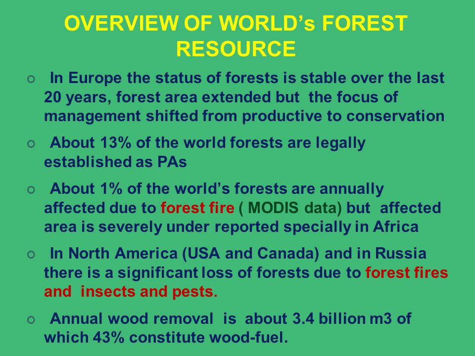OVERVIEW OF WORLD's FOREST RESOURCE