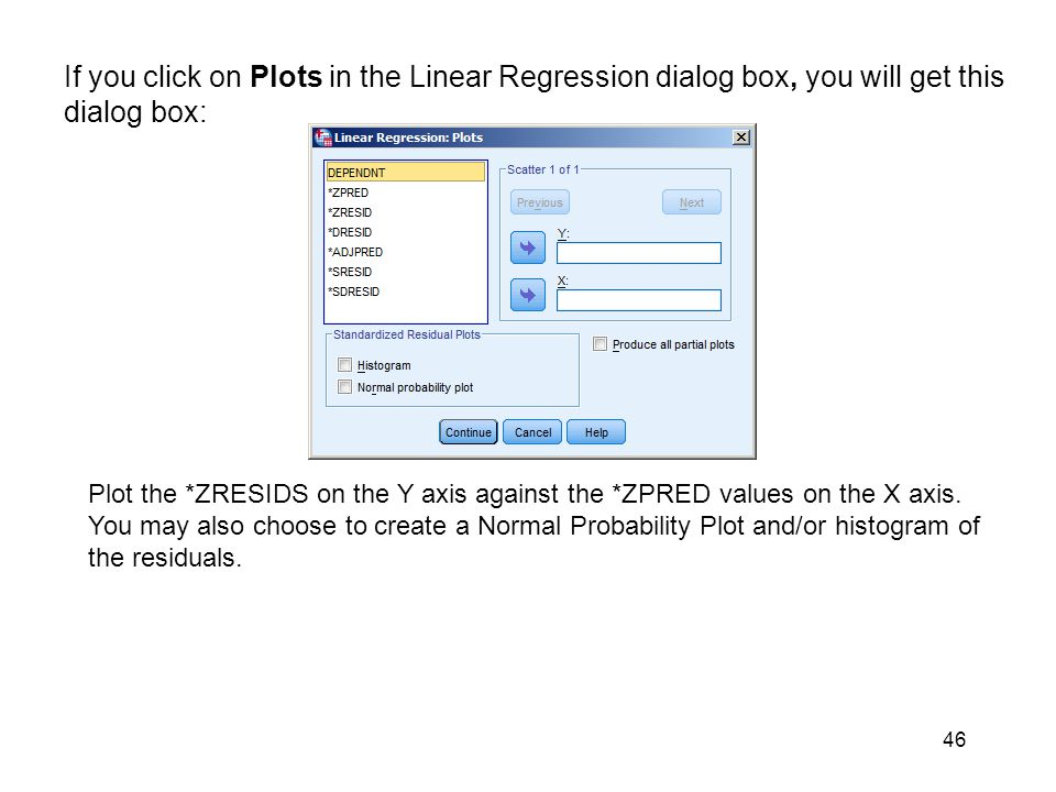 If you click on Plots in the Linear Regression dialog box, you will get this dialog box: