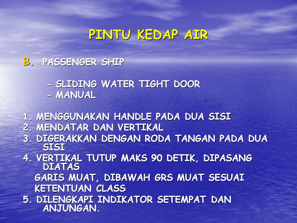 PINTU KEDAP AIR PASSENGER SHIP - SLIDING WATER TIGHT DOOR - MANUAL