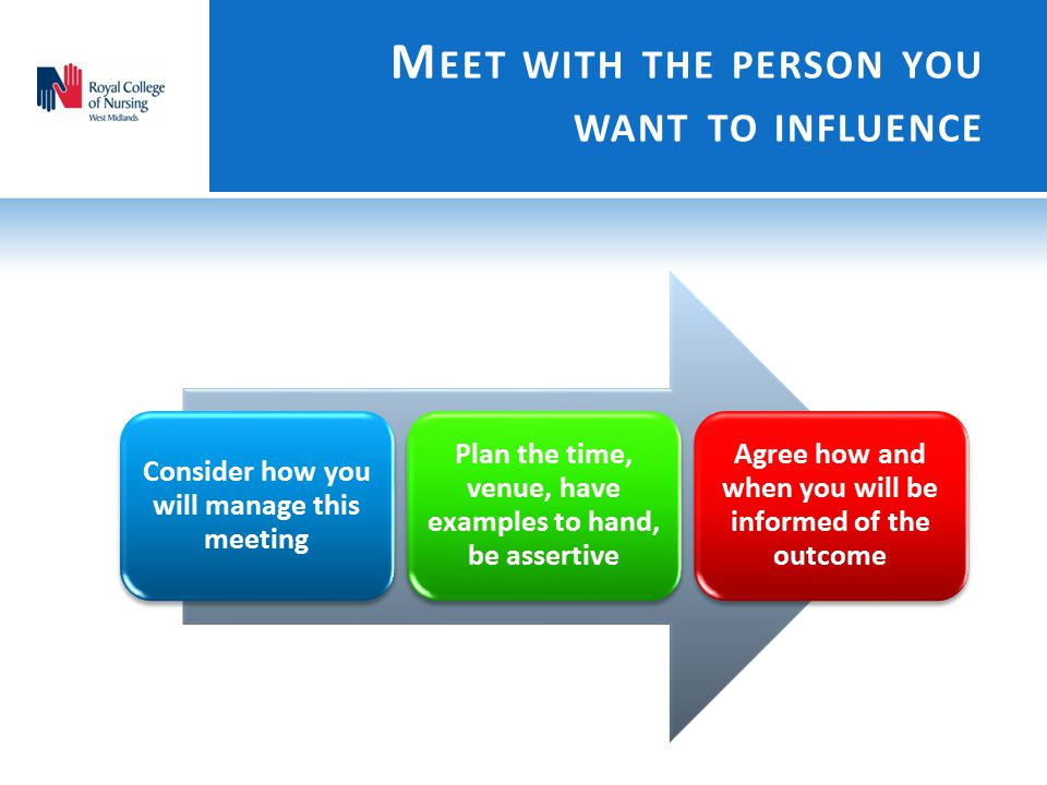 Meet with the person you want to influence