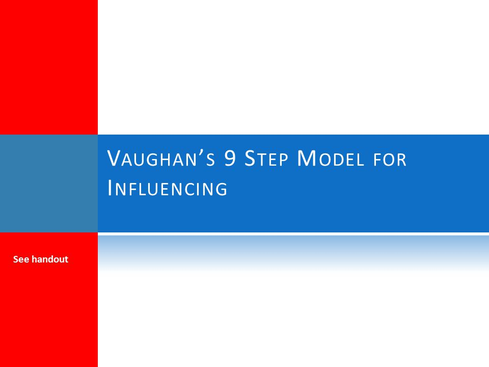 Vaughan's 9 Step Model for Influencing