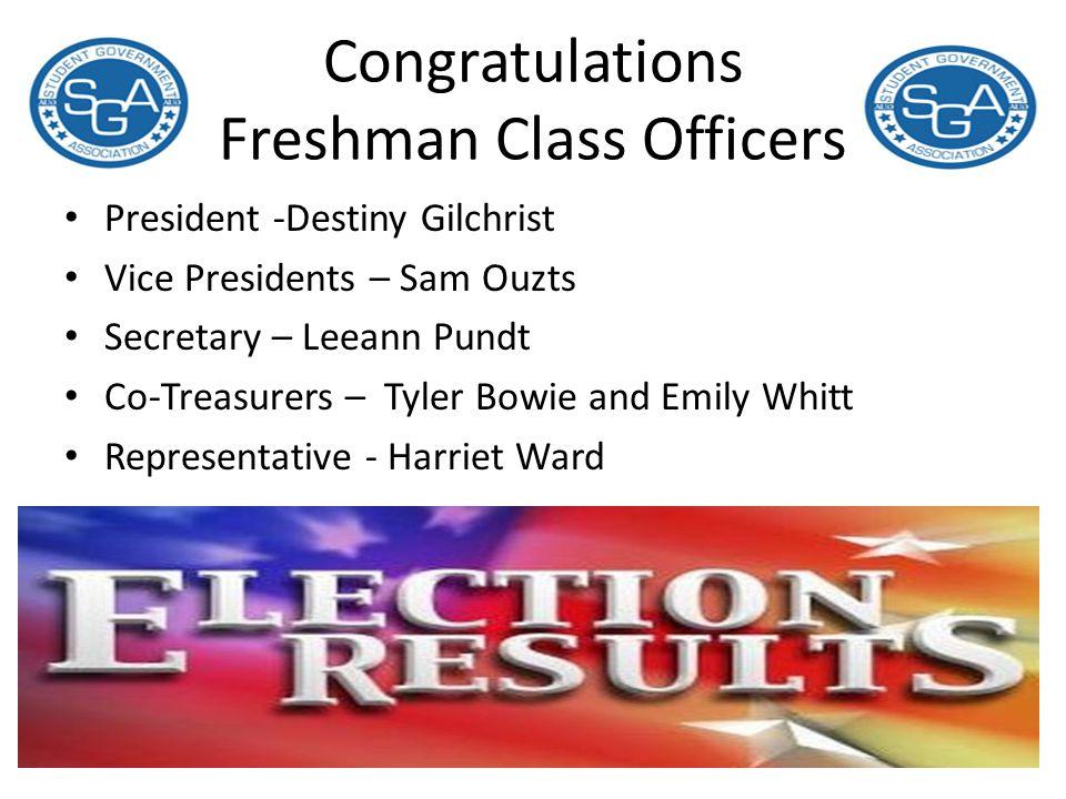 Congratulations Freshman Class Officers
