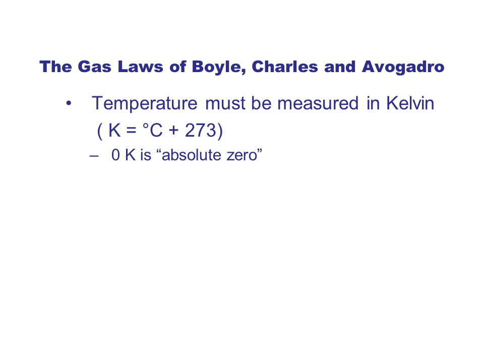 The Gas Laws of Boyle, Charles and Avogadro