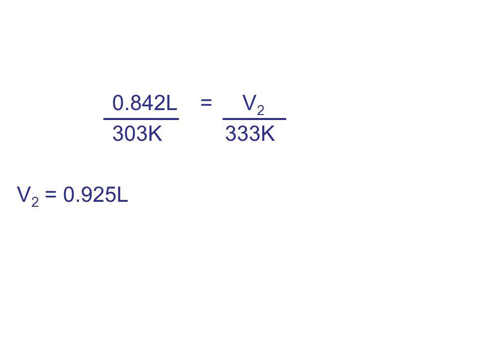 0.842L = V2 303K 333K V2 = 0.925L