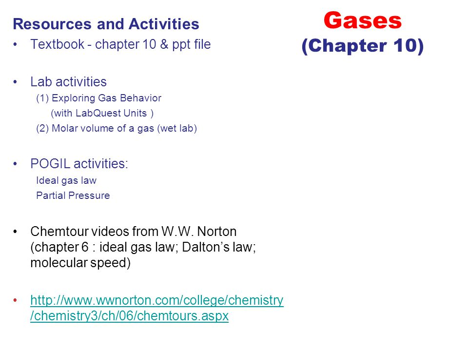 Gases (Chapter 10) Resources and Activities