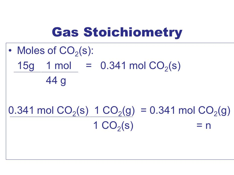 Gas Stoichiometry Moles of CO2(s): 15g 1 mol = 0.341 mol CO2(s) 44 g