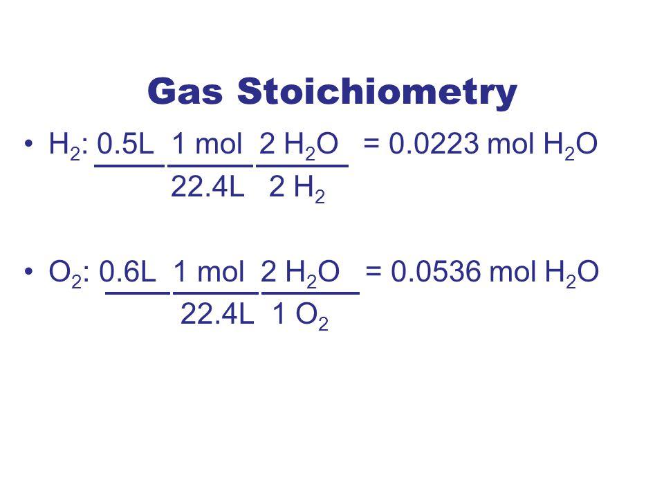 Gas Stoichiometry H2: 0.5L 1 mol 2 H2O = 0.0223 mol H2O 22.4L 2 H2