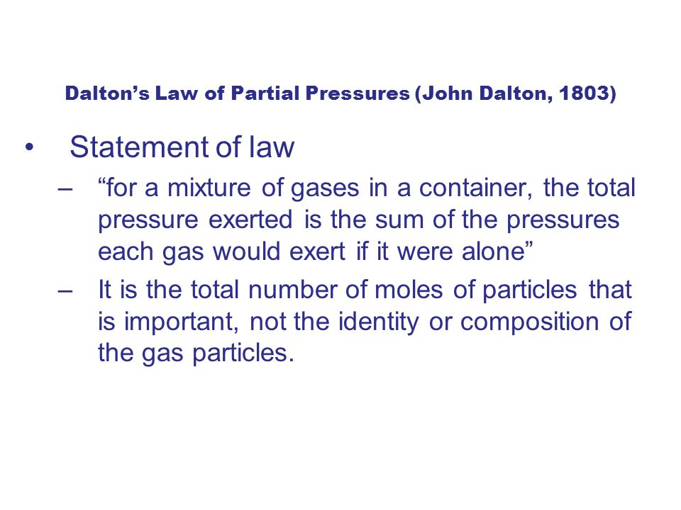 Dalton's Law of Partial Pressures (John Dalton, 1803)