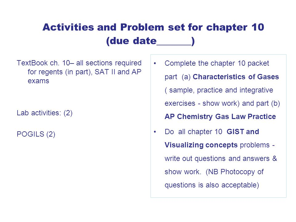 Activities and Problem set for chapter 10 (due date_______)