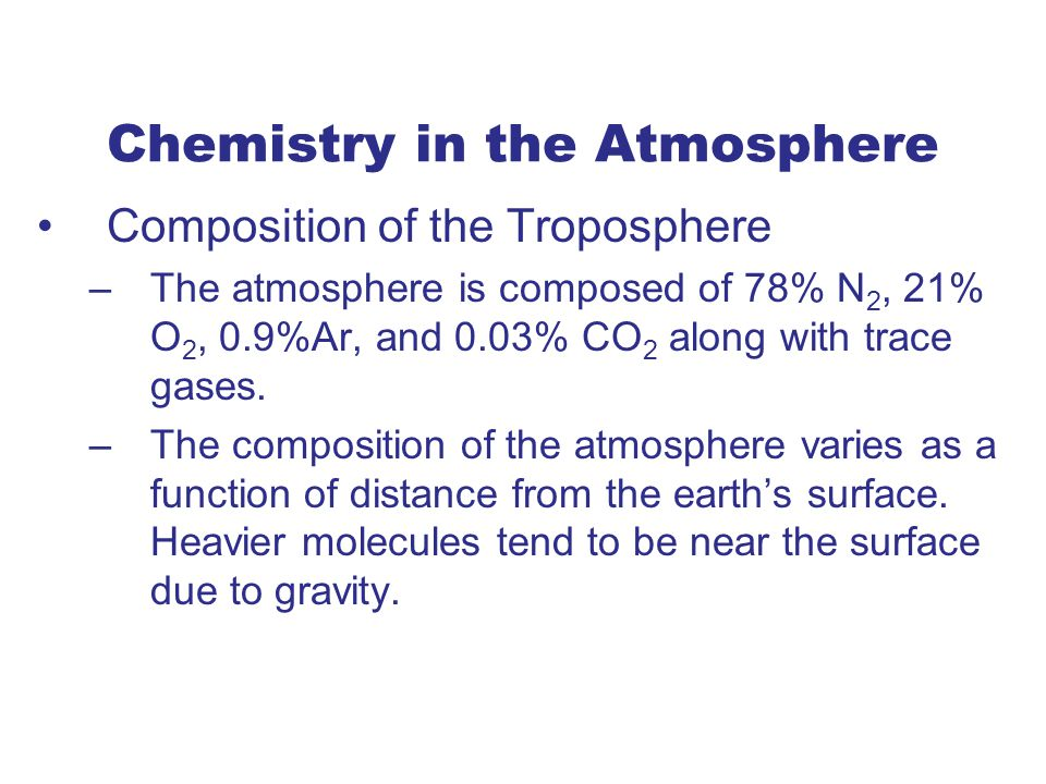 Chemistry in the Atmosphere
