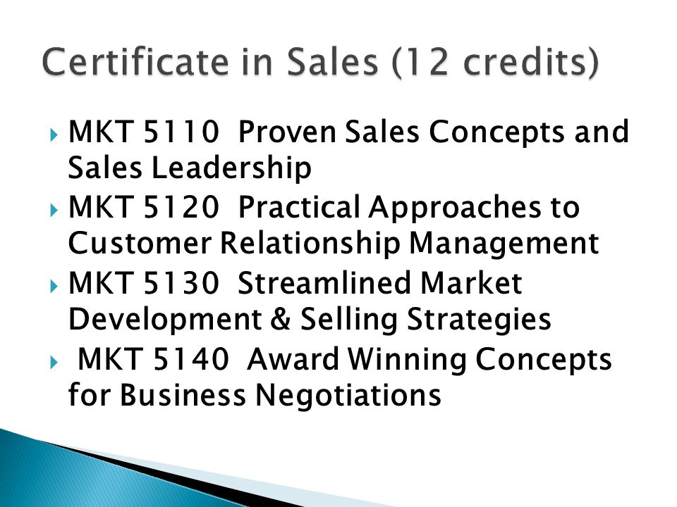 Certificate in Sales (12 credits)