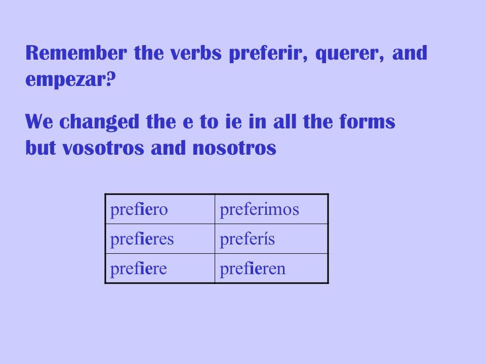 Remember the verbs preferir, querer, and empezar
