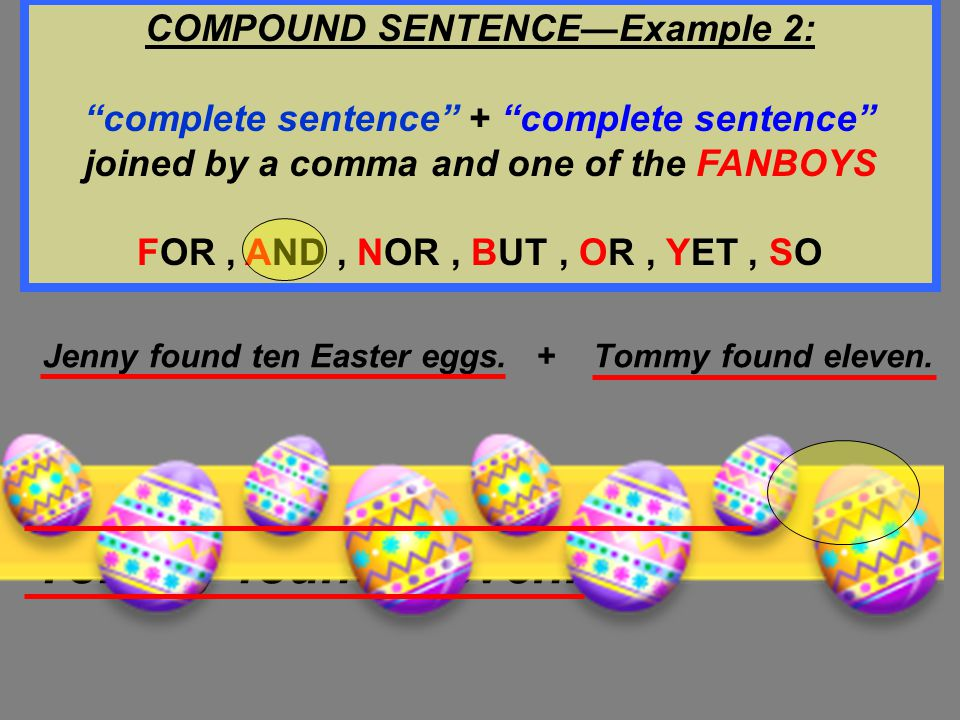 COMPOUND SENTENCE—Example 2: