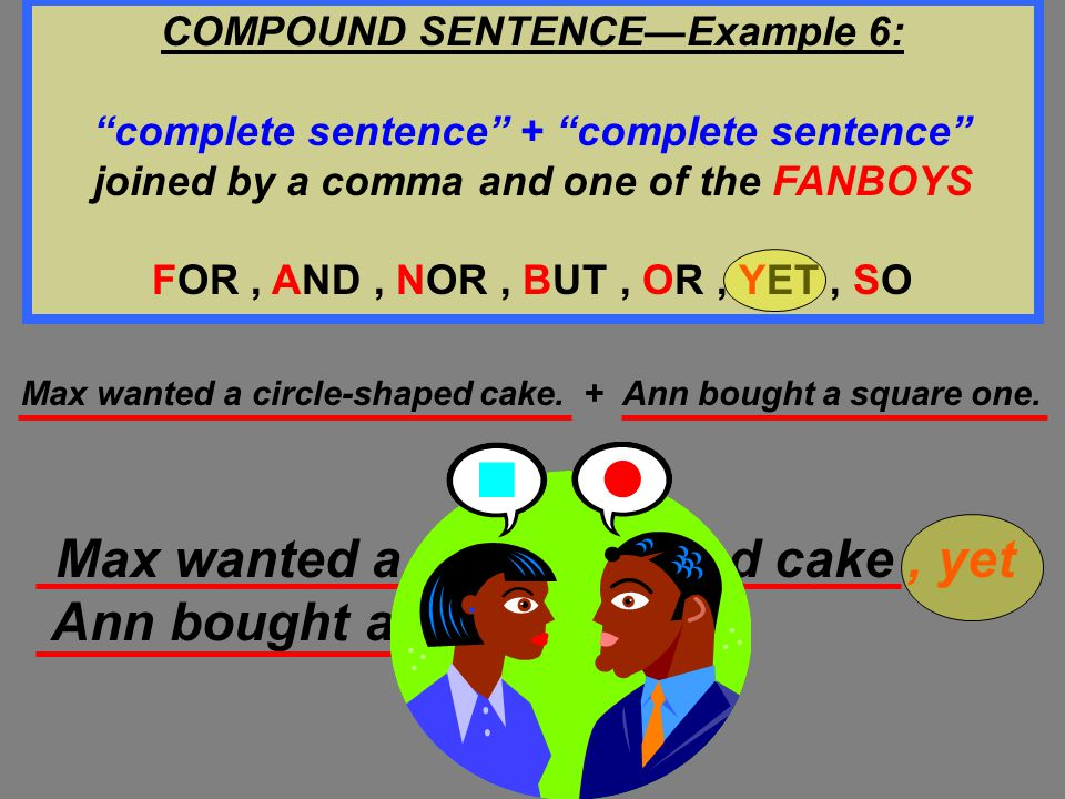 COMPOUND SENTENCE—Example 6: