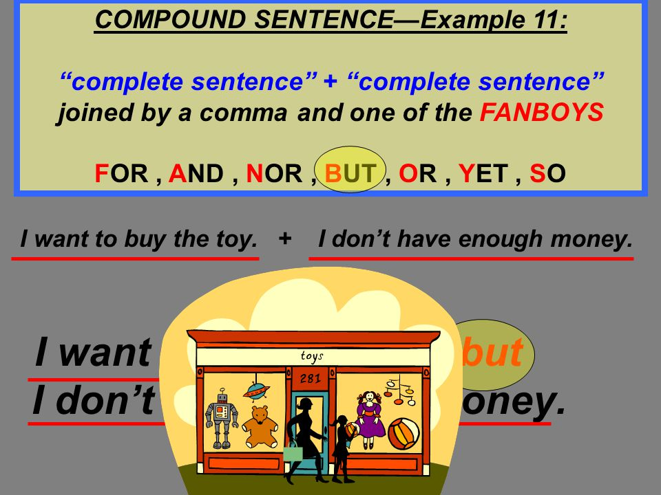 COMPOUND SENTENCE—Example 11:
