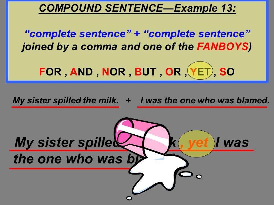 COMPOUND SENTENCE—Example 13: