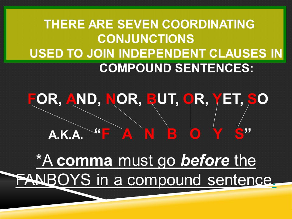 *A comma must go before the FANBOYS in a compound sentence.