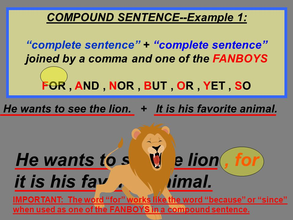 COMPOUND SENTENCE--Example 1: