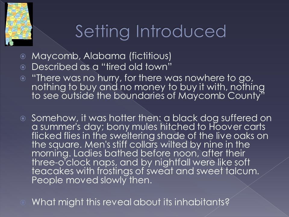 Setting Introduced Maycomb, Alabama (fictitious)
