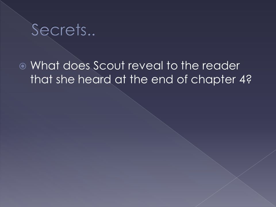 Secrets.. What does Scout reveal to the reader that she heard at the end of chapter 4