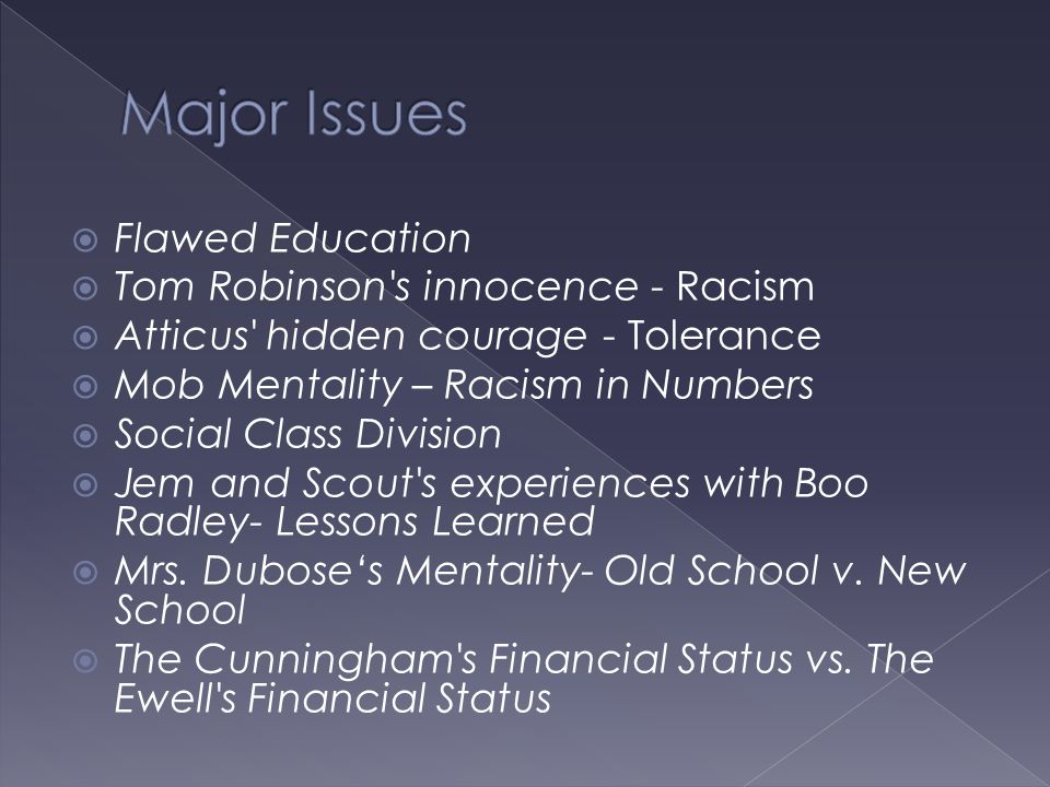 Major Issues Flawed Education Tom Robinson s innocence - Racism