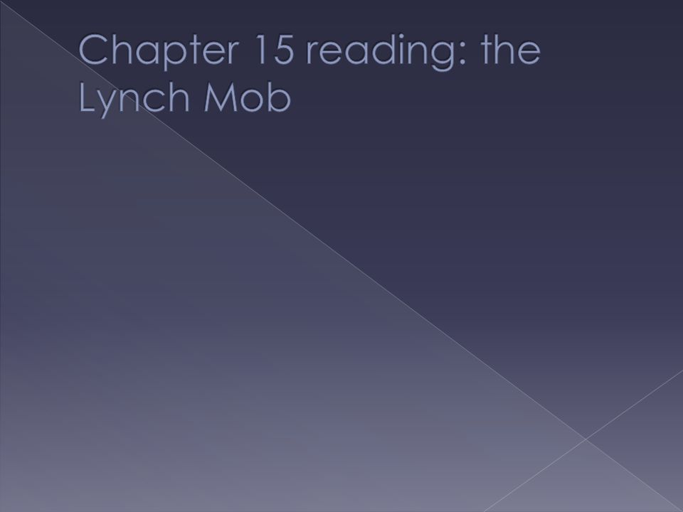 Chapter 15 reading: the Lynch Mob