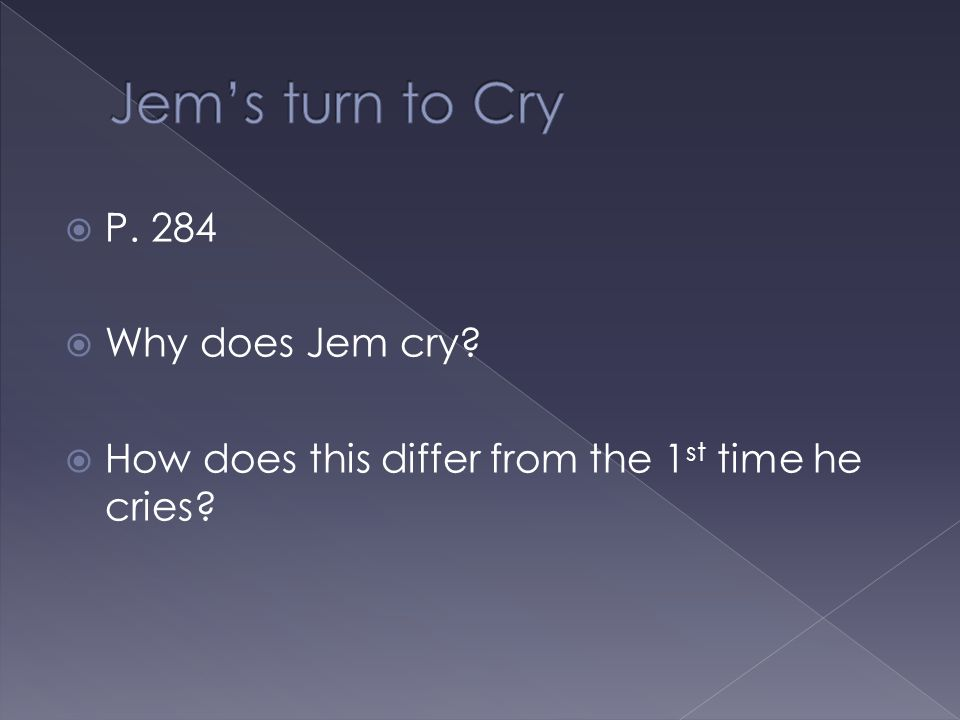 Jem's turn to Cry P. 284 Why does Jem cry