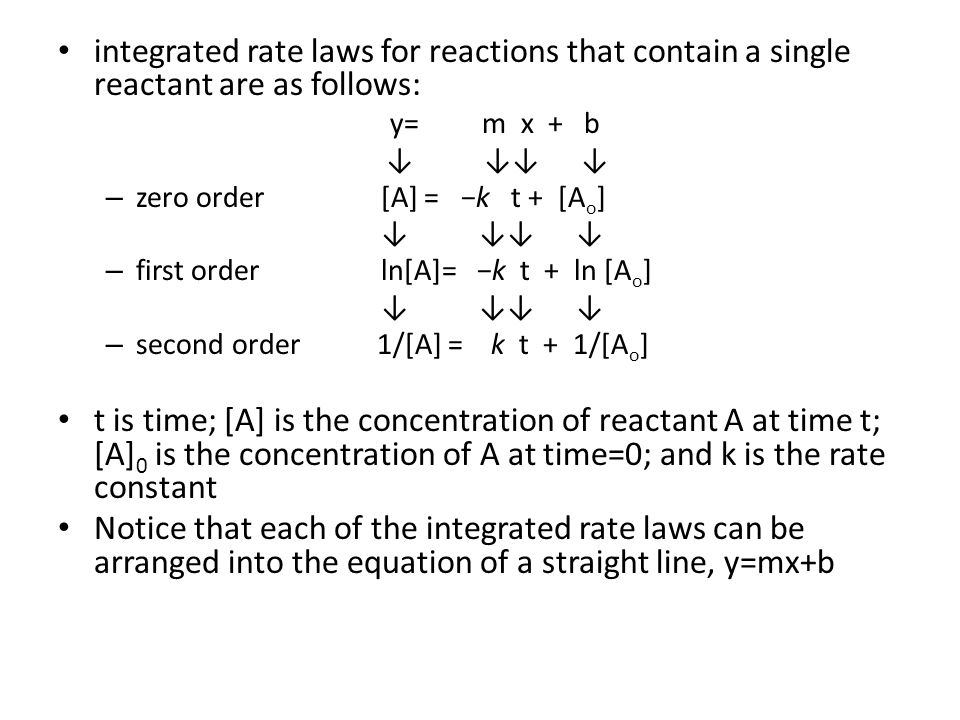 integrated rate laws for reactions that contain a single reactant are as follows: