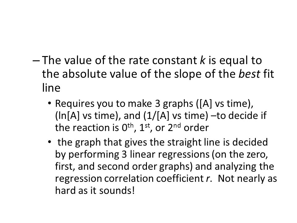 The value of the rate constant k is equal to the absolute value of the slope of the best fit line