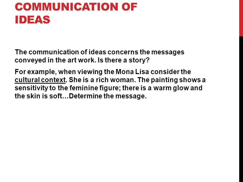 Communication of ideas