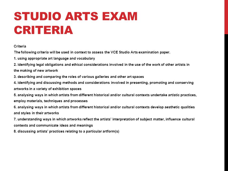 Studio Arts Exam Criteria