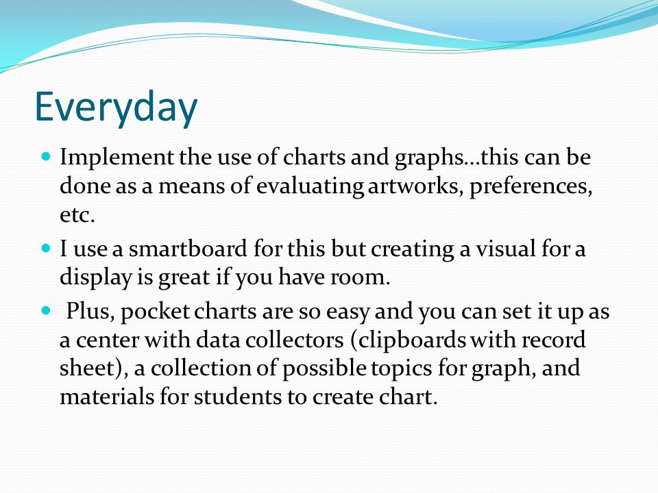 Everyday Implement the use of charts and graphs…this can be done as a means of evaluating artworks, preferences, etc.