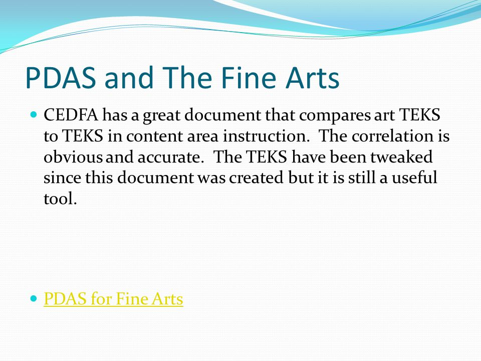 PDAS and The Fine Arts