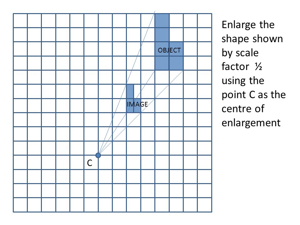Enlarge the shape shown by scale factor ½ using the point C as the centre of enlargement